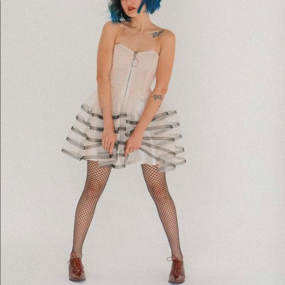 Betsey Johnson Tulle Film Noir Dress, ivory & blk